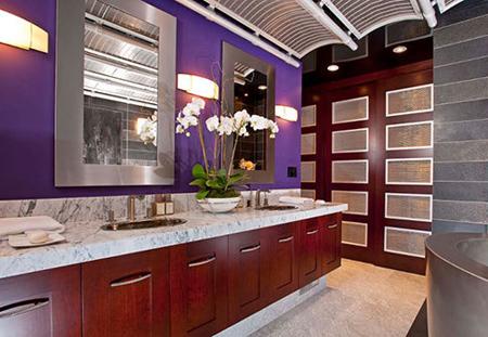 طراحی مدرن دکوراسیون, رنگ آمیزی دیوارها به رنگ بنفش
