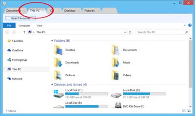 افزودن tab به فایل اکسپلورر ویندوز, ویندوز ۱۰,