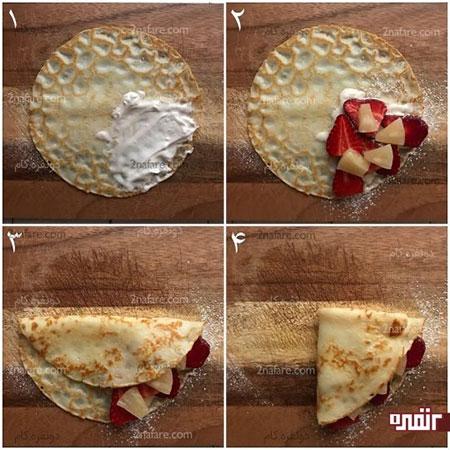 روش تهیه کرپ صبحانه همراه با میوه